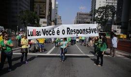 De straatprotest 12 April 2015 São Paulo van Brazilië Royalty-vrije Stock Foto's