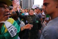 De straatprotest Maart 2016 São Paulo van Brazilië Royalty-vrije Stock Fotografie