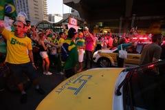 De straatprotest Maart 2016 São Paulo van Brazilië Stock Afbeeldingen