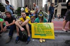 De straatprotest Maart 2016 São Paulo van Brazilië Royalty-vrije Stock Afbeeldingen