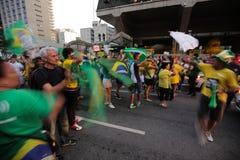De straatprotest Maart 2016 São Paulo van Brazilië Stock Afbeelding
