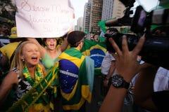 De straatprotest Maart 2016 São Paulo van Brazilië Royalty-vrije Stock Foto