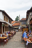 De Straatrestaurants van Sarajevo Stock Foto's