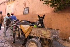De straatscène van Marrakech met mensen en het dagelijkse leven stock foto