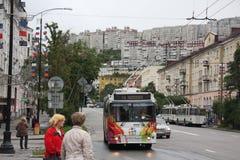De straatscène van Moermansk Stock Afbeeldingen