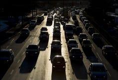 De straatsilhouet van opstoppingauto's Stock Afbeeldingen