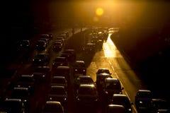De straatsilhouet van opstoppingauto's Stock Fotografie
