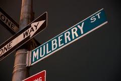 De straatteken van de moerbeiboom Royalty-vrije Stock Afbeelding