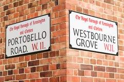 De straatteken van de Weg van Portobello Royalty-vrije Stock Foto's