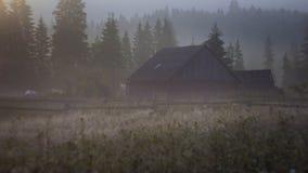 De stralen van de de mistzon van de ochtenddauw in bergen Stock Afbeeldingen