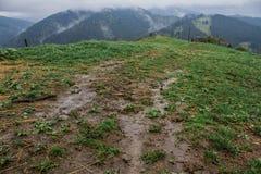 De stralen van de de mistzon van de ochtenddauw in bergen Royalty-vrije Stock Afbeeldingen