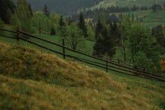 De stralen van de de mistzon van de ochtenddauw in bergen Royalty-vrije Stock Foto's