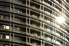 De stralen van de zon op vensters van de moderne bouw Stock Foto's