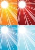 De stralenachtergronden van de zon Stock Foto