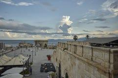 De strandboulevard van Cagliari stock afbeeldingen