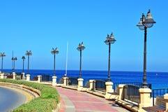 De strandboulevard van Malta Stock Fotografie