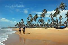 De Stranden van Goa in India stock afbeeldingen