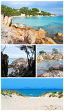 De stranden van Sardinige in collage stock afbeeldingen
