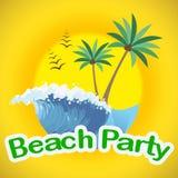 De strandpartij wijst de Zomer op Tijd en Stranden royalty-vrije illustratie