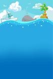 De strandzomer onder Water Achtergrondvector stock afbeelding