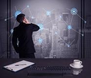 De strategie van de verkoperstekening op bureauvergadering Royalty-vrije Stock Afbeelding