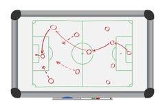 De strategie van het voetbalspel op whiteboard Het trekken met voetbal tactisch plan op tellersraad Vector stock illustratie