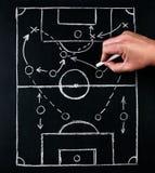 De strategie van voetbal of het voetbal speelt tactiek, door krijt op het schoolbord met een voetbal uit bus tijdens de tijd word stock afbeeldingen
