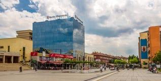 In de straten in moderne Pristina Stock Fotografie