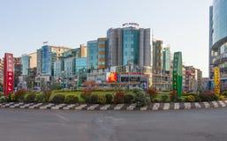 De straten van Addis Ababa Ethiopia royalty-vrije stock fotografie