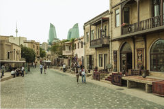 De straten van de binnenstad van Baku, Azerbeidzjan Royalty-vrije Stock Afbeeldingen