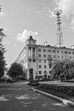 De straten van de stad Bouw de televisietoren van 1952 Stock Afbeelding