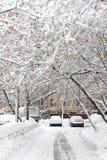 Sneeuwval in de stad. Stock Foto's