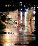 De straten van de stad in regen Royalty-vrije Stock Foto