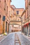De straten van middeleeuwse Ferrara, Italië royalty-vrije stock fotografie