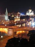 De straten van Moskou van de nacht. Royalty-vrije Stock Afbeeldingen