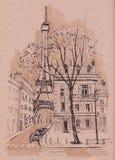 De straten van Parijs Het stedelijke schetsen Royalty-vrije Stock Foto's