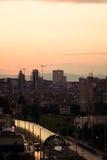 De straten van Sofia op zonsondergang Stock Foto's