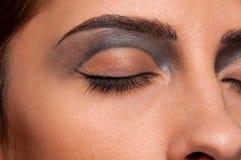 De streek van de het oogmake-up van de close-up van poppenvrouw Stock Fotografie
