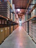 De streek van de opslag in een industrieel pakhuis Royalty-vrije Stock Foto