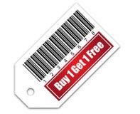 De streepjescode met koopt 1 krijgt 1 Vrij Stock Fotografie