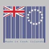 De streepjescode plaatste de kleur van Cook Islands vlag, Blauwe vlag met een ring van ster en Union Jack tekst: Gemaakt in Cook  royalty-vrije illustratie