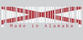 De streepjescode plaatste de kleur van de vlag van Alabama, de staten van Amerika, Rode St Andrew ` s saltire op een gebied van w stock illustratie