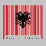 De streepjescode plaatste de kleur van de vlag van Albanië, een rood met de zwarte dubbel-geleide adelaar op witte achtergrond stock illustratie