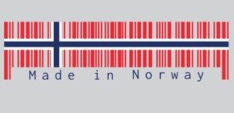 De streepjescode plaatste de kleur van de vlag van Noorwegen, een wit-fimbriated blauw Noords kruis op een rood gebied, tekst: Ge vector illustratie