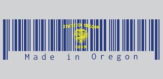 De streepjescode plaatste de kleur van de vlag van Oregon, Verbinding van Oregon in goud op een azuurblauw gebied Boven de verbin stock illustratie