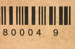 De streepjescodes op een doos sluiten omhoog Royalty-vrije Stock Afbeelding