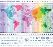 De strekenkaart van de wereldzonetijd Stock Fotografie
