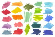 De strepen van het kleurenhoogtepunt, banners met de tellers die van Japan worden getrokken Modieuze hoogtepuntelementen voor ont Stock Afbeeldingen