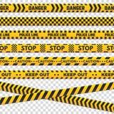 De strepen van de voorzichtigheidsperimeter De geïsoleerde zwarte en gele politielijn kruist niet voor misdadige scène Het teken  stock illustratie
