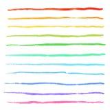 De strepen van de waterverfregenboog strijkt hand getrokken vectorborstelsuitrusting stock illustratie